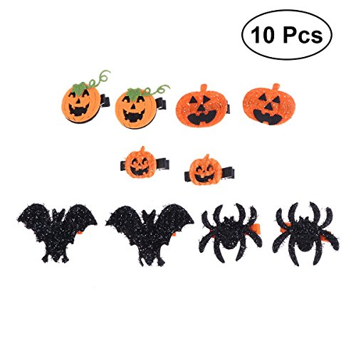 Frcolor 10pcs Halloween Hair Clips Kids Barrette Pumpkin Bat Spider Hairpins -