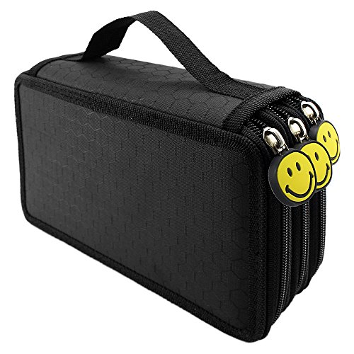 LORJE Multilayer Colored Pencil Case, Large, 52 Slots Black Pen Bag (Pen Boxes)