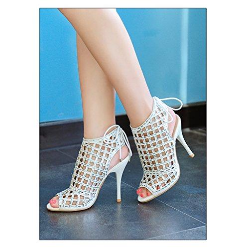 Height 37 Taille UK5 Argent Creuses 235mm Banquet Chaussures pour Height Hauts Talons Sandales 8cm Femmes Couleur Mariage Mesdames Sexy 8cm de US6 ZaARqTTwC