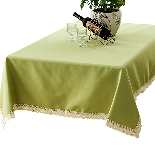 R.LANG Solid Color Spillproof Heavy Weight Fabric Tablecloth 60 x 144-inch Jacquard Tablecloth Rectangle Light Green