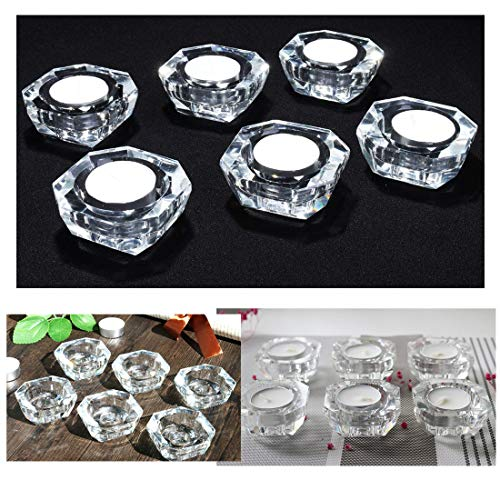Qf 6 PCS Crystal Tealight Holders Candlesticks Wedding Home Decorations ()