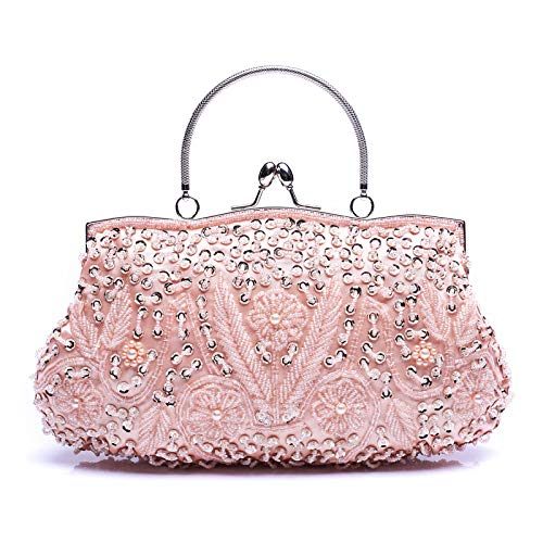 (HOTER Wowens Antique Floral Seed/Bead/Sequin Bag Evening Clutch Wedding Party Clutch Purses and Handbags)