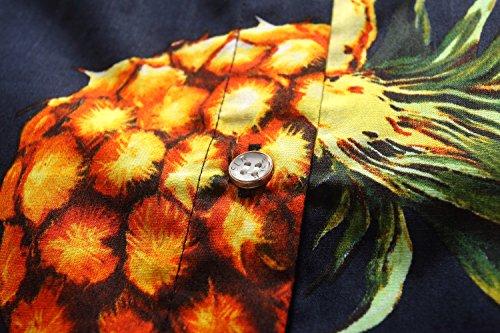 SSLR Camisa Mujer Algodón Manga Corta Casual Tropical Estilo Hawaiano de Piña Navy