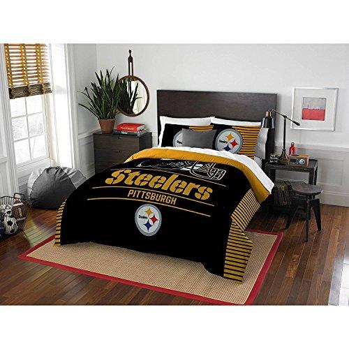 MS 3pc NFL Steelers Comforter Full Queen Set, Team Logo Fan Merchandise Athletic Team Spirit Fan, Yellow Black Football Themed Bedding Sports Patterned, Polyester, Unisex (Comforter Queen Bedding Nfl)