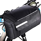OBOVA: Sturdy Bike Handlebar Bag with Reinforced Shape | Water Reistant Perfect-Size Bicycle Front Basket Pannier, Touch-Screen Phone Pocket 4L Multi-use for Road, Mountain Cycling, Scootering