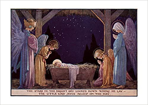 amazonin buy angels at manger of baby jesus christmas cards 6 cards individually bagged with envelopes header book online at low prices in india - Jesus Christmas Cards
