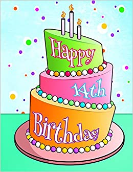 Buy Happy 14th Birthday Cake Themed Notebook Journal