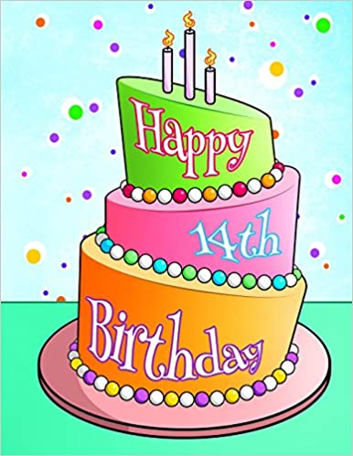 Surprising Happy 14Th Birthday Birthday Cake Themed Notebook Journal Diary Funny Birthday Cards Online Alyptdamsfinfo