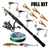 Sougayilang Fishing Rod Reel Combos Carbon Telescopic Fishing Rod Pole with Spinning Reel Line Lures Accessories Combo Sea Saltwater Freshwater Fishing Rod Kit (Fishing Full Kit,8.86Ft Rod)