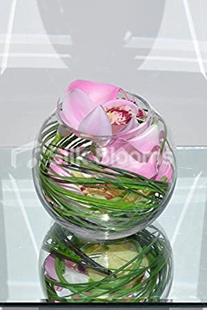 Elegante toque fresco Artificial color orquídea Cymbidium pecera arreglo Floral: Amazon.es: Hogar