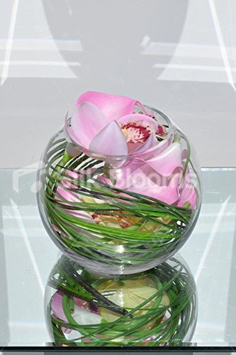 Elegante toque fresco Artificial color orquídea Cymbidium pecera arreglo Floral