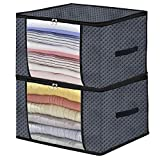Onlyeasy Foldable Storage Bag Organizers for Closet - Pillow Beddings Blanket Clothes Organizer Storage Containers Box with Solid Metal Zipper, Breathable, 22.8