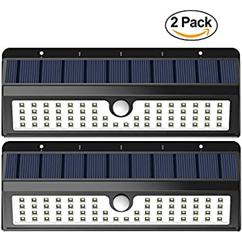 Solar Lights, Lemontec 62 LED Wall Solar Light Outdoor Security Lighting Nightlight with Motion Sensor Detector for Garden Back Door Step Stair Fence Deck Yard Driveway, 2 Pack