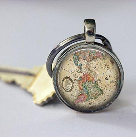 Vintage Globe Keychain Car Accessories Old World Map Travel Key Chain Key Fob in Bronze or - Keychain Vintage