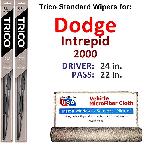 Wiper Blades for 2000 Dodge Intrepid Driver & Passenger Trico Steel Wipers Set of 2 Bundled with Bonus MicroFiber Interior Car Cloth