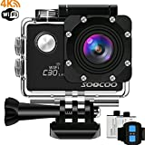 4K Sports Action Camera, SOOCOO C30R Waterproof Sports Camera 20MP 170 Degree Wide Angle Underwater DV Camcorder 2 LCD Screen/2.4G Remote Control/2x1350mAh Batteries-Black(Micro SD Card Not Included)