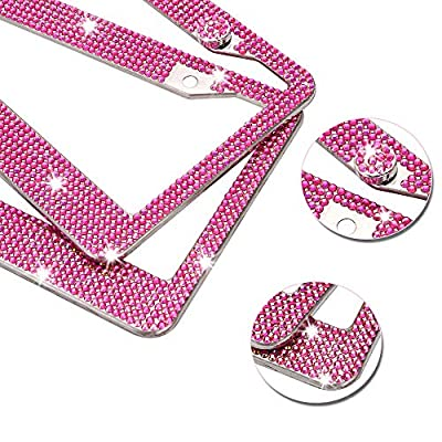 QIDUN Bling Rhinestone License Plate Frame, Touch of Class Diamond Cut Rhinestone License Plate Frame for Women,2 Pack Bedazzled Car Plate Covers Holders for US Vehicles (Rose red): Automotive
