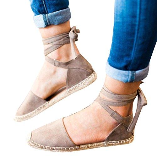 ed0dc122d69 Syktkmx Womens Espadrilles Lace Up Flat Platform Ankle Strap Wrap Summer  D Orsay Sandals
