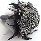 8-inch custom bridal bouquet,Gothic style black feather brooch bouquet, black and white wedding bouquet gem (8inch)