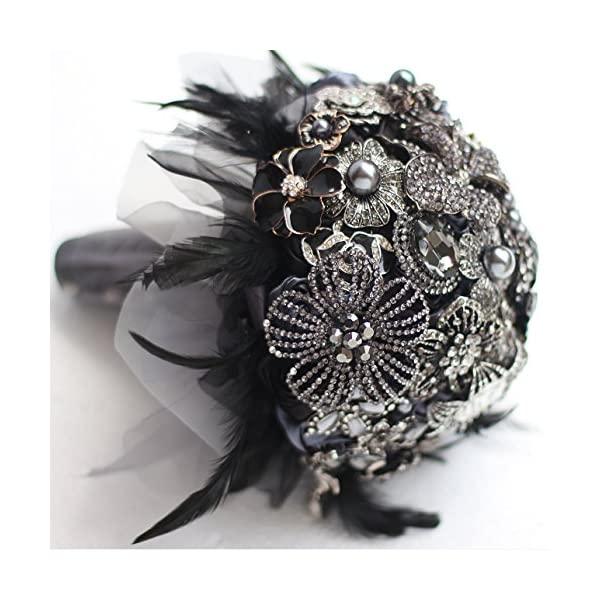 IFFO 9-inch custom bridal bouquet,Gothic style black feather brooch bouquet, black and white wedding bouquet gem (9inch)