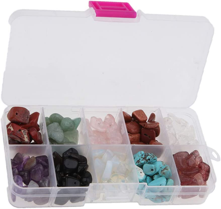 IPOTCH 1 Caja De Surtido De Colores De Piedras Preciosas Perlas Chip para DIY Craft Pulsera Collar De La Joyería