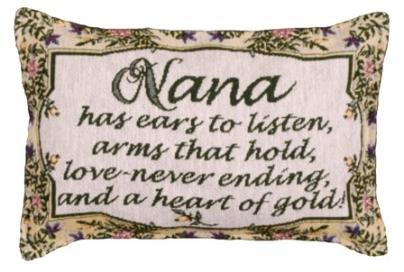 "Lovely Tapestry-Style Nana ""Heart Of Gold"" Accent Throw Pillow - Made In USA"