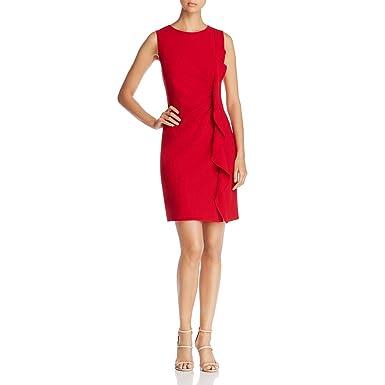 cb5767096200 Elie Tahari Womens Tamara Ruffle-Front Sleeveless Cocktail Dress Red 6 at  Amazon Women's Clothing store: