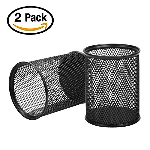 Pen Pencil Holder Cup (SZmiyang 2pcs Black Round Steel Mesh Pen Container Pencil Cups Desk Organizers Holders 3.5 inch for Home Office)