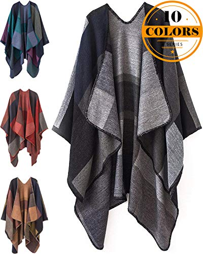 Kirgiabo Womens Color Block Shawl Wrapplus Size Cardigan Poncho