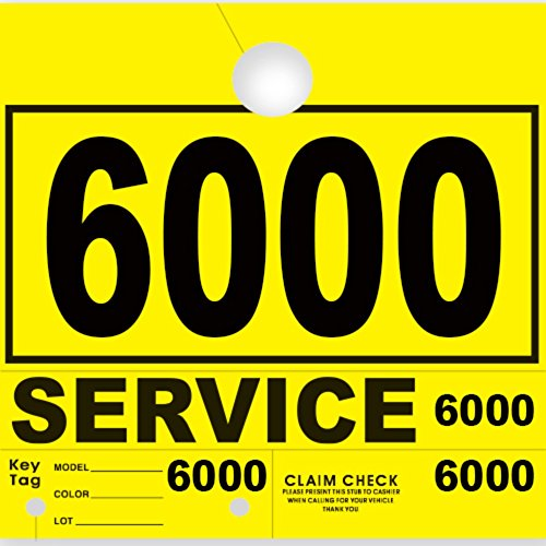 Versa-Tags Service Department Hang Tags Window Tag, Yellow, Numbers 6000-6999 (1000 Pieces Per Box)