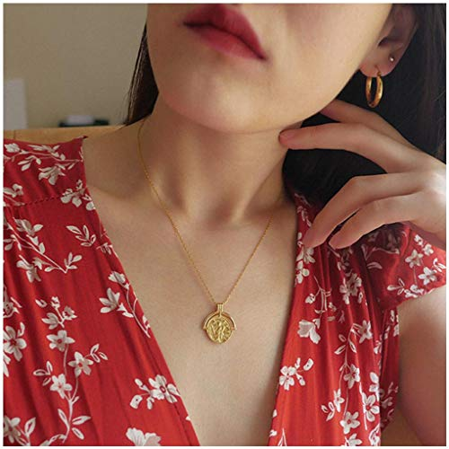 Olbye Roman Medallion Coin Necklace Choker Gold Disk Necklace for Women and Girls Personalized Necklace Jewelry (Style ()