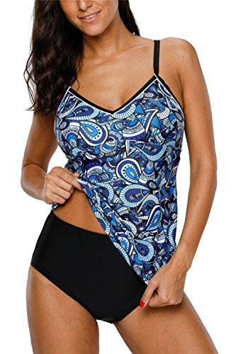 ALove Tankini Swimsuit for Women Tribal Swimwear Tummy Hide Blue Large