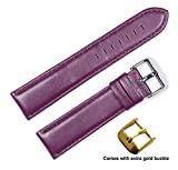 deBeer brand Panerai Style Glove Leather Watch Band (Silver & Gold Buckle) - Eggplant 16mm