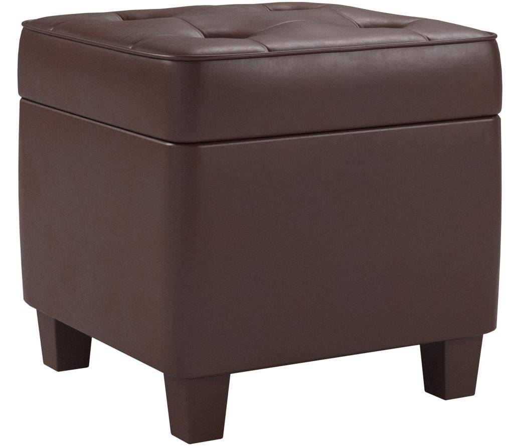 HomePop Leatherette Tufted Square Storage Ottoman with Hinged Lid, Brown by HomePop