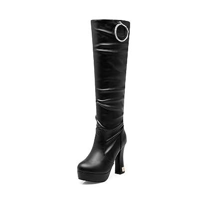VogueZone009 Damen Hoher Absatz Hoch-Spitze Rein Ziehen auf Stiefel, Weiß, 37