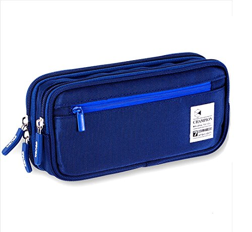 Pencil Case, MontoSun Big Capacity Pencil Bag Pouch with Durable Zipper Students Stationery Pen Bag for Pens, Pencils, Markers, Eraser, Highlighters and Other School Supplies (Dark Blue)
