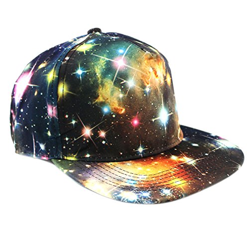 Besooly Unisex Snapback Hats Starry Sky Milky Way Prints Flower Outdoors Flat Hip-Hop Baseball Cap Fashion (Yellow) (Flat Milky Way)