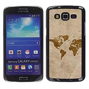 QCASE / Samsung Galaxy Grand 2 SM-G7102 SM-G7105 / mapa arte de la acuarela eart continentes américa / Delgado Negro Plástico caso cubierta Shell Armor Funda Case Cover