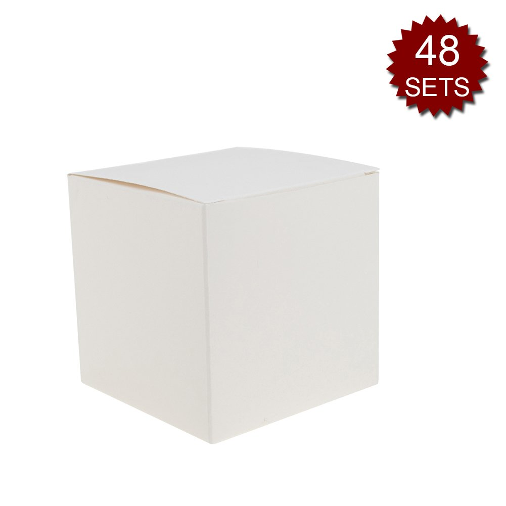 Aspire Set of 48 2-3/4'' x 1-3/4'' x 2-3/4'' Stand Up Kraft Paper Gift Boxes with Jute Twine and Tag-White-48 SETS
