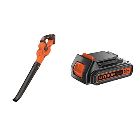 Black+Decker GWC1820PC-QW - Soplador PowerCommand 18V (2 Ah) + BLACK+DECKER BL2018-XJ - Batería de litio Tipo Carril de 18 V