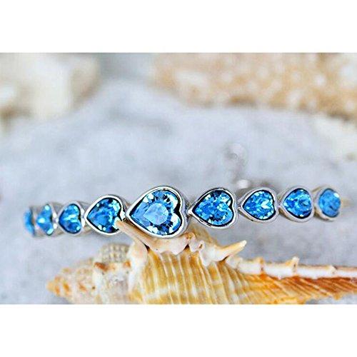 Eastlion Crystal Ladies Bracelet Fashion Heart-shaped Bracelet Creative Hand Jewelry,Blue by Eastlion (Image #3)