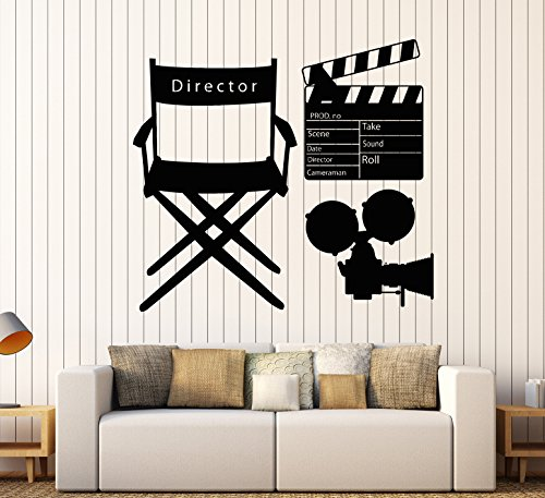 Vinyl Wall Decal Movie Director Clapperboard Cinematography Camera Stickers Large Decor (771ig) Lime Green