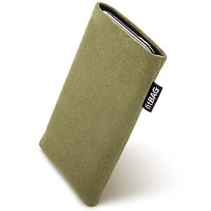 fitBAG Classic Khaki Funda para Sony Ericsson R300R300i. Sonora Alcantara con forro de microfibra para la limpieza de pantalla