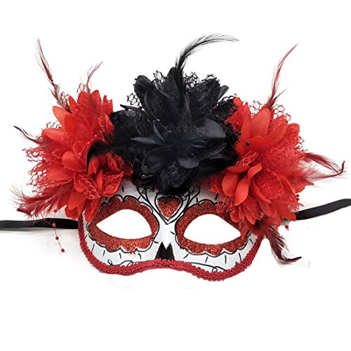 Rehoty Women's Masquerade Mask Mexican Day of The Dead Mask (Red -