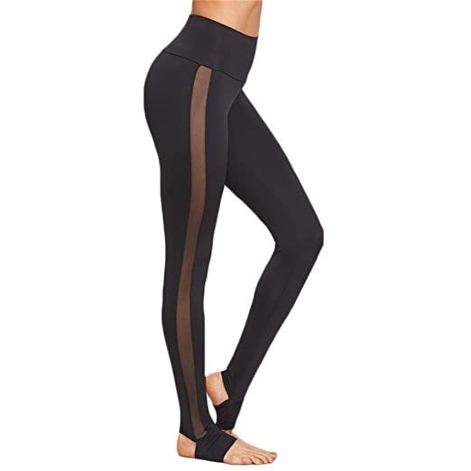 de737baf11673 Womens Mesh Splice Yoga Leggings Skinny Workout Gym Fitness Sports Pants  Jogger Athletic