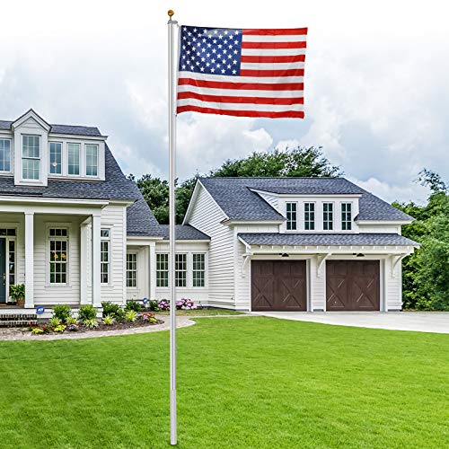 ZENY 20FT Sectional Flag Pole 3'x5' American Flag & Ball Top Kit Hardware Outdoor Garden Halyard Pole Inground Flagpole (20 ft)