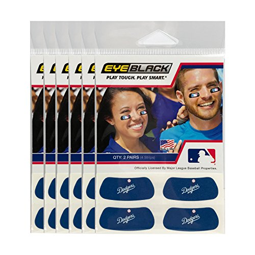 (24 Strips) Los Angeles Dodgers MLB Eye Black Anti Glare Strips, Great for Fans & Athletes on Game (Los Angeles Dodgers 30 Ball)