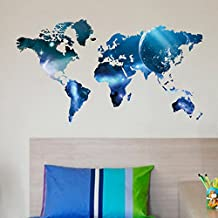 Anself Decorative Self Adhesive World Map Decal Blue Removable Mural Wall Art Sticker DIY Home Decor
