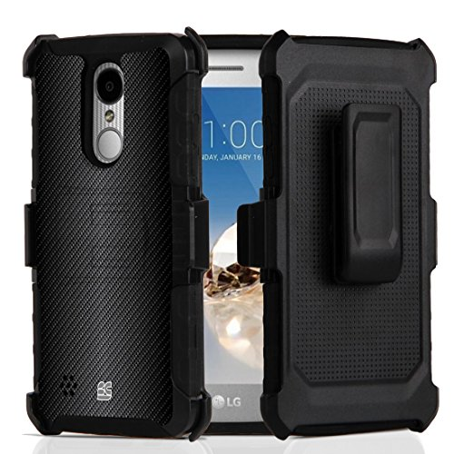 Dual Layer Shock Absorbing Protection [Impact Resistant] Rugged Kickstand Armor Cover Case with Belt Clip Holster - (Dark Carbon Fiber) and Atom Cloth for LG Aristo 2 Plus (T-Mobile)