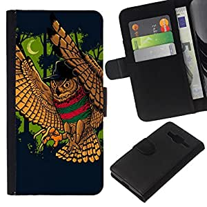 // PHONE CASE GIFT // Moda Estuche Funda de Cuero Billetera Tarjeta de crédito dinero bolsa Cubierta de proteccion Caso Samsung Galaxy Core Prime / Majestic Night Owl /